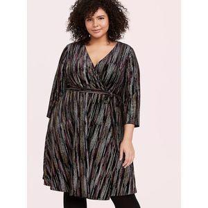 Torrid Black Velvet Multi Stripe Dress 4x